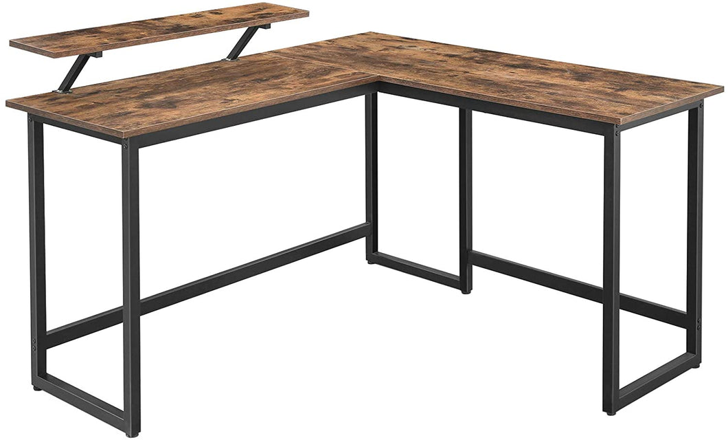 Industrial Brown L-Shaped Corner Desk with Monitor Stand