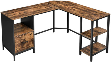 Industrial L-Shaped Corner Desk, w/ Shelves and Hanging File Cabinet