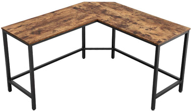 Industrial Brown L-Shaped Computer Desk, 58-Inch Corner Desk