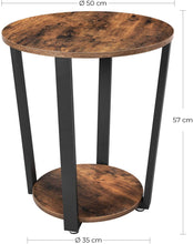 Load image into Gallery viewer, VASAGLE Industrial End Table, Metal Side Table, Round Sofa Table with Storage Rack, Stable and Sturdy Construction, Easy Assembly, Wood Look Accent Furniture with Metal Frame ULET57X
