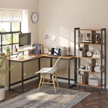 Load image into Gallery viewer, Industrial Brown L-Shaped Corner Desk with Monitor Stand