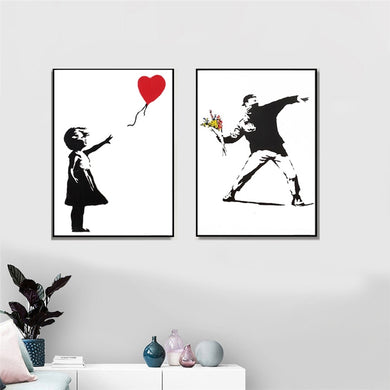Banksy Graffiti Art Canvas Painting Girl With Red Balloon Painting Black and White Wall Art Poster Nordic Living Room Home Decor