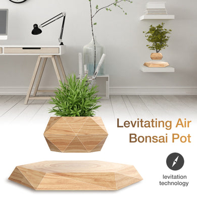Creativity Wood Grain Levitating Air Bonsai Pot Magnetic Levitation Floating Plant Pot For Small Indoor Potted Plants Or Herbs