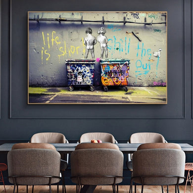 Banksy Graffiti Art Canva Painting  Life Is Short Chill The Duck Out Street Art Wall Art for Living Room Home Decor (No Frame)