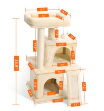 Load image into Gallery viewer, Domestic Delivery Cat Tree Luxury Cat Tower with Double Condos Spacious Perch Fully Wrapped Scratching Sisal Post and Replacea