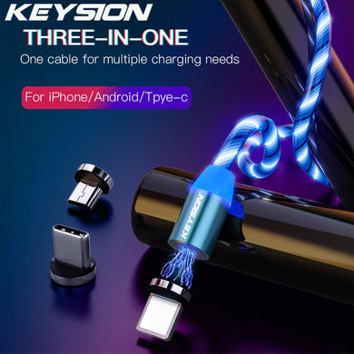 KEYSION Flowing Light LED Type C Magnetic Cable for Redmi Note 7 8 Pro K20 USB-C Charging Magnet Charger Cables for Xiaomi Mi 9T