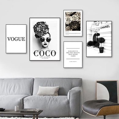 Fashion Flower Woman Poster and Print Coco Quotes Wall Art Canvas Painting Black White Vogue Pictures for Living Room Home Decor