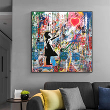 Load image into Gallery viewer, Street Graffiti Art Banksy Art Pop Art Canvas Painting Cuadros Posters Wall Art for Living Room Home Decor (No Frame)