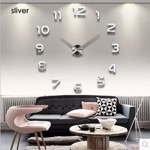 Load image into Gallery viewer, 3d Luminous Real Big Wall Clock Rushed Mirror Sticker Diy Living Room Home Decor Fashion Watches  Quartz Large
