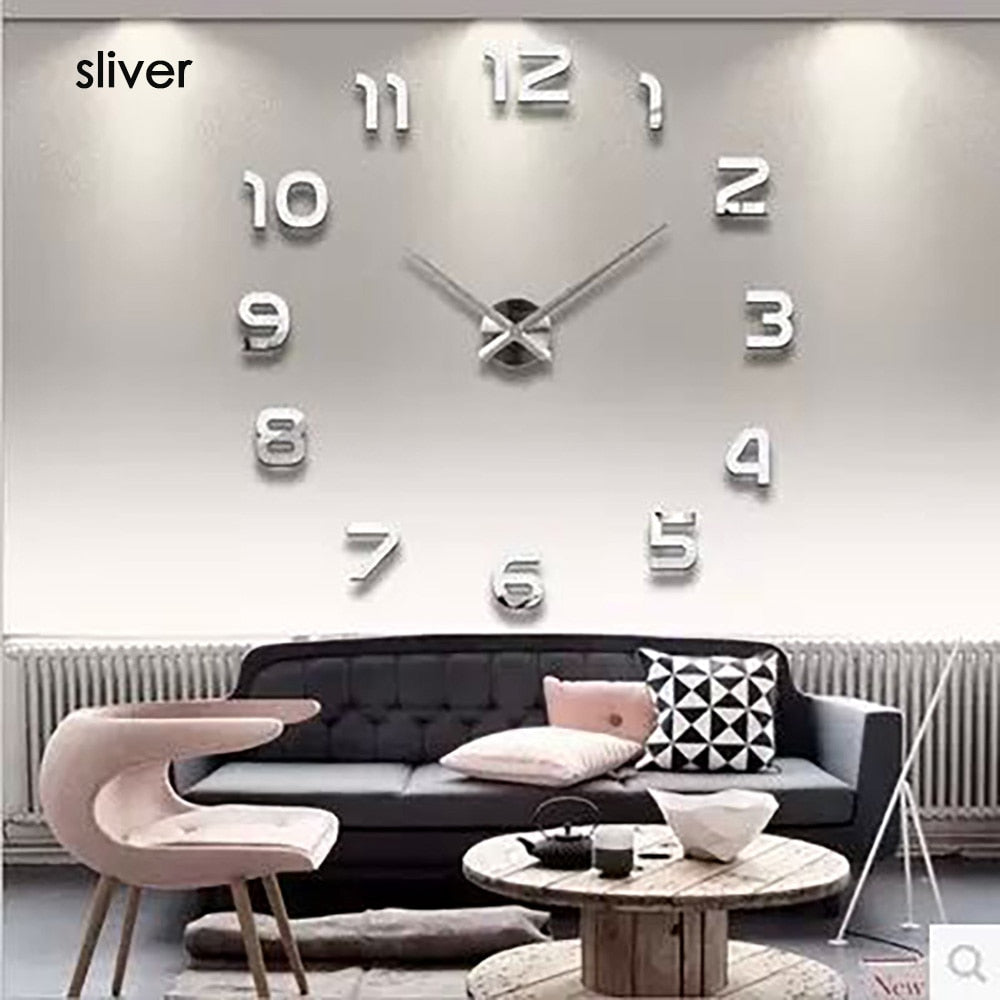 3d Luminous Real Big Wall Clock Rushed Mirror Sticker Diy Living Room Home Decor Fashion Watches  Quartz Large
