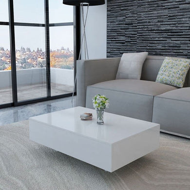 USA Warehouse Coffee Table High Gloss Modern Simple Creative Side Table White Free Shipping