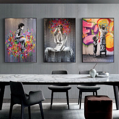 Modern Graffiti Art Girl Child Abstract Canvas Painting Poster and Prints Cuadros Wall Art for Living Room Home Decor (No Frame)