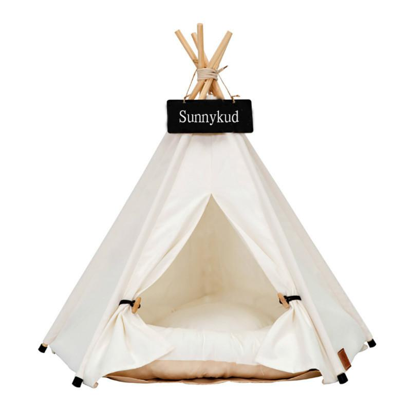 Pet Tent House Cat Bed Portable Teepee With Thick Cushion And 6 Colors Available For Dog Puppy Excursion Outdoor Indoor