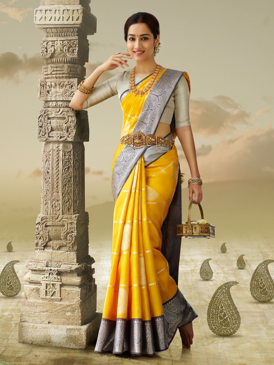 Beauteous Yellow Color Designer Saree