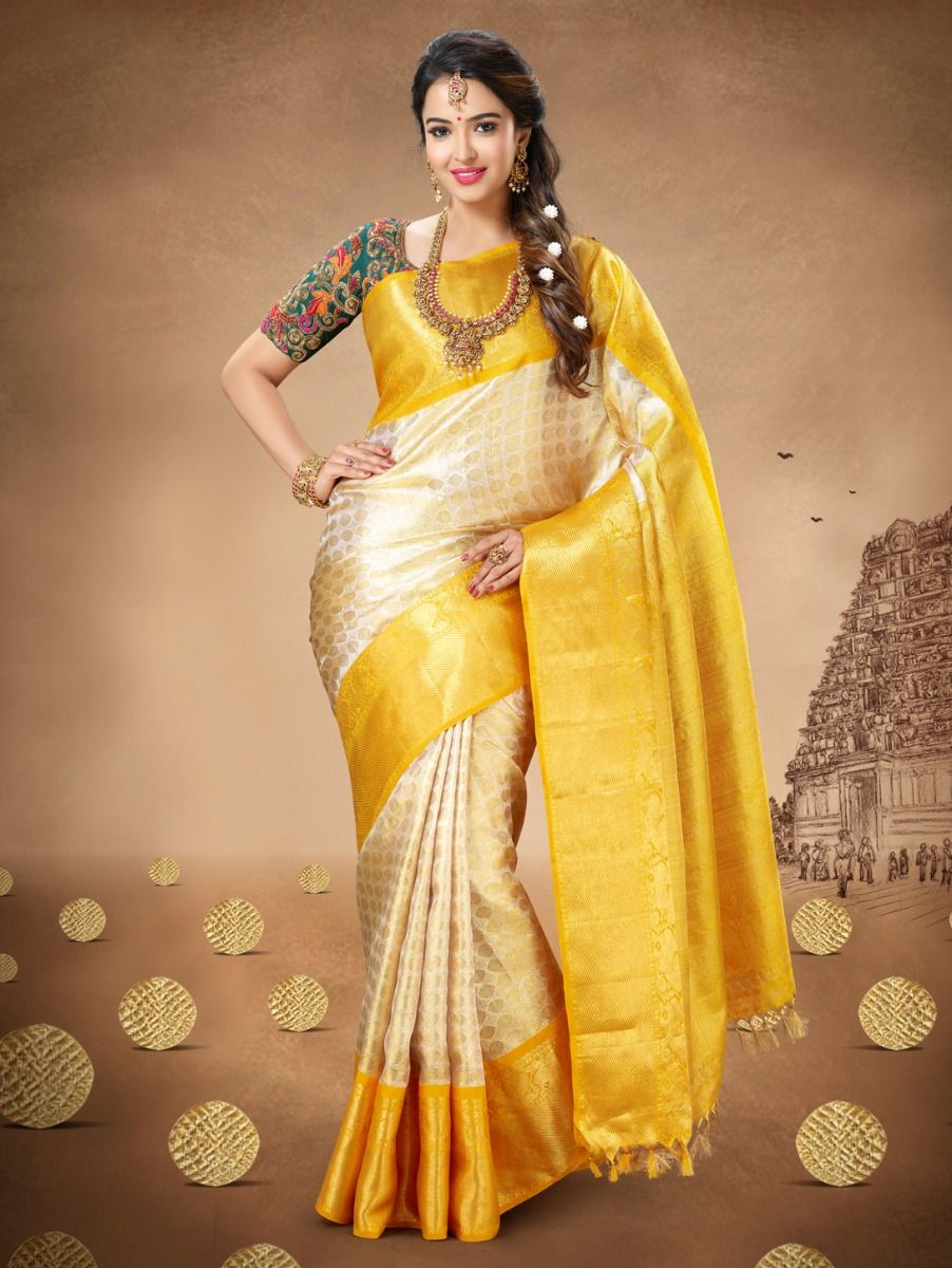 Jazzy Yellow Color Designer Silk Saree