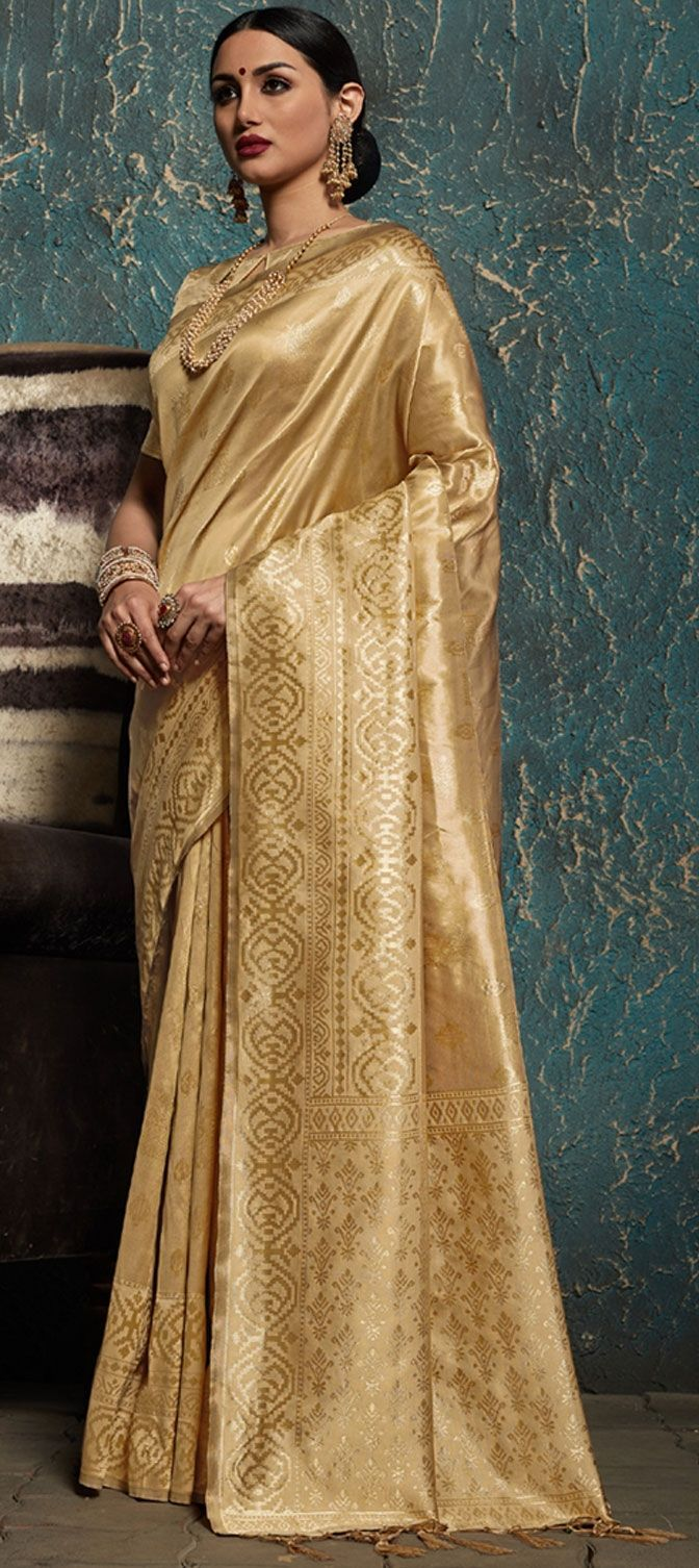 Vibrant Cream Color Designer Silk Saree