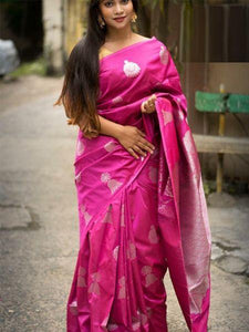 Peasurable Pink Color Designer Silk Saree