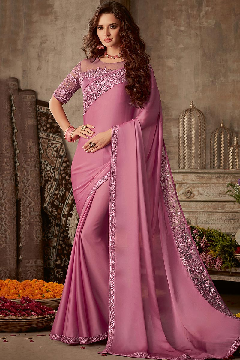 Adorning Pink Color Designer Silk Saree