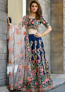 Navy Blue Embroidered Silk Lehenga Choli