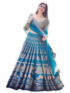 SILK BLUE PRINTED REPLICA LEHENGA CHOLI