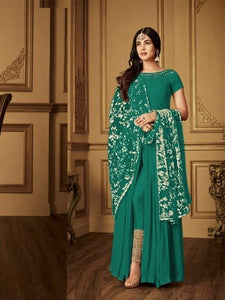 Sonal Chauhan Simple Green Bollywood Georgette Anarkali Suit