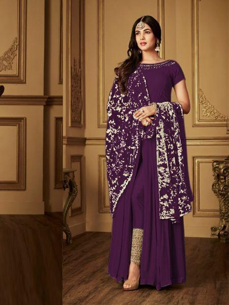 Sonal Chauhan Purple Bollywood Anarkali Suit With Dupatta