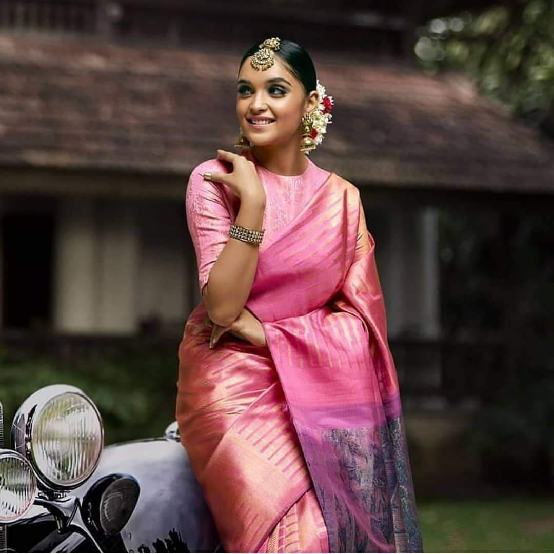 Vibrant Pink Color Designer Silk Saree