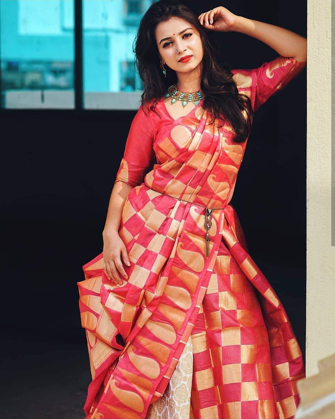 Radient Pink Color Designer Silk Saree