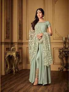Sonal Chauhan Light Green Bollywood Anarkali Suit With Embroidered Dupatta