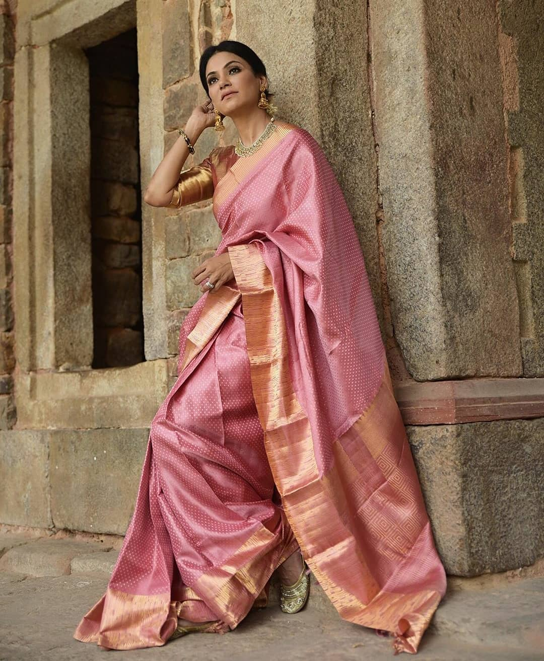 Elegant Pink Color Designer Silk Saree