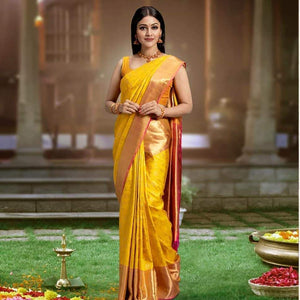 Outstanding Yellow Color Designer Silk Saree