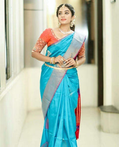 Recent Sky-Blue Color Designer Silk Saree