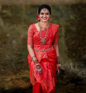 Embodied Red Color Bridal Saree