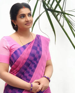 Lovely Multi Color Linen Saree