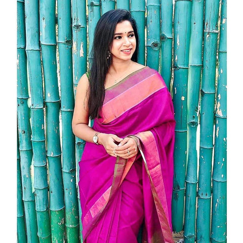 Stylish Pink Color Linen Saree