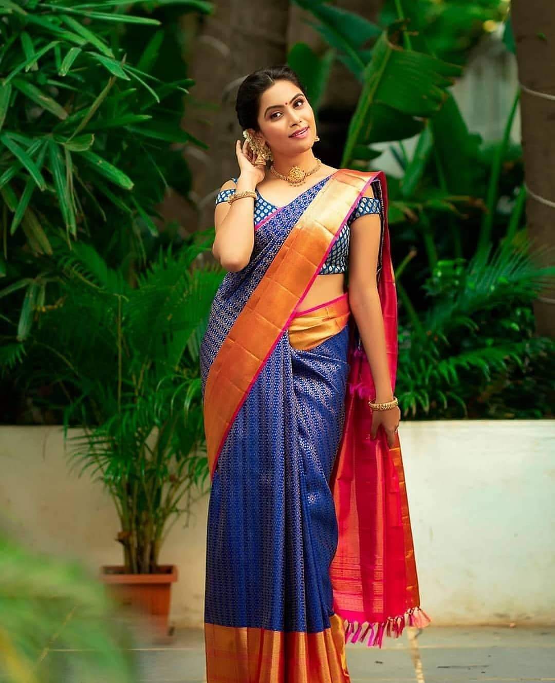 Moony Blue Color Designer Silk Saree