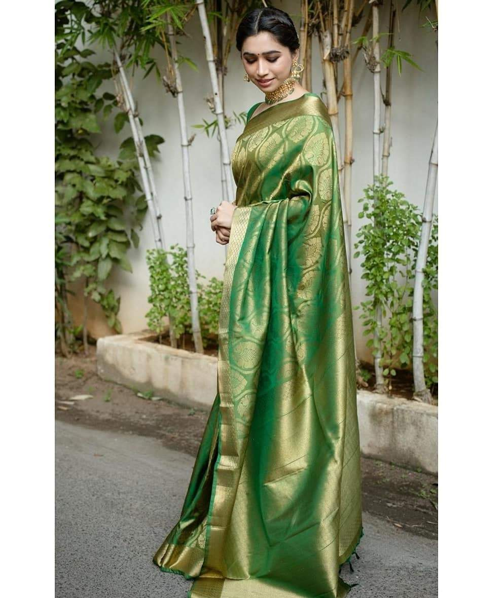 Pleasing Green Color Designer Silk Saree