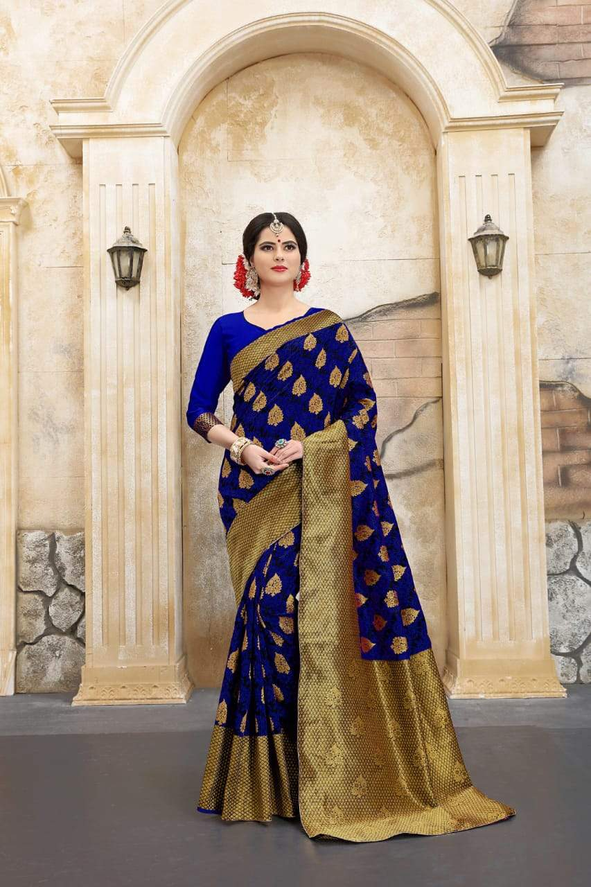 Sensational Blue Color Designer Silk Saree