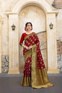Refreshing Red Color Designer Silk Saree