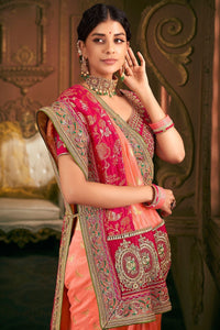 Elegance Salmon And Red Party Wear Designer Silk Saree