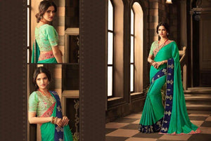 Vibrant Green Color Designer Silk Saree