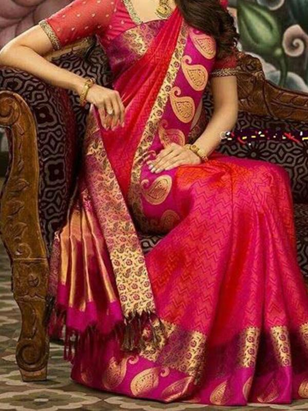 Charismatic Pink Color Designer Silk Saree