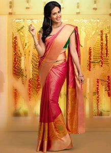 Heavy Pink Color Designer Silk Saree