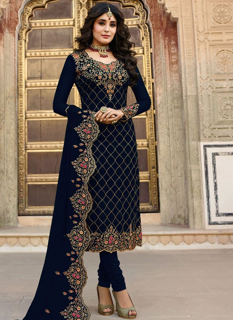CaptivatingÊ Embroidered Navy Blue Churidar Designer Suit
