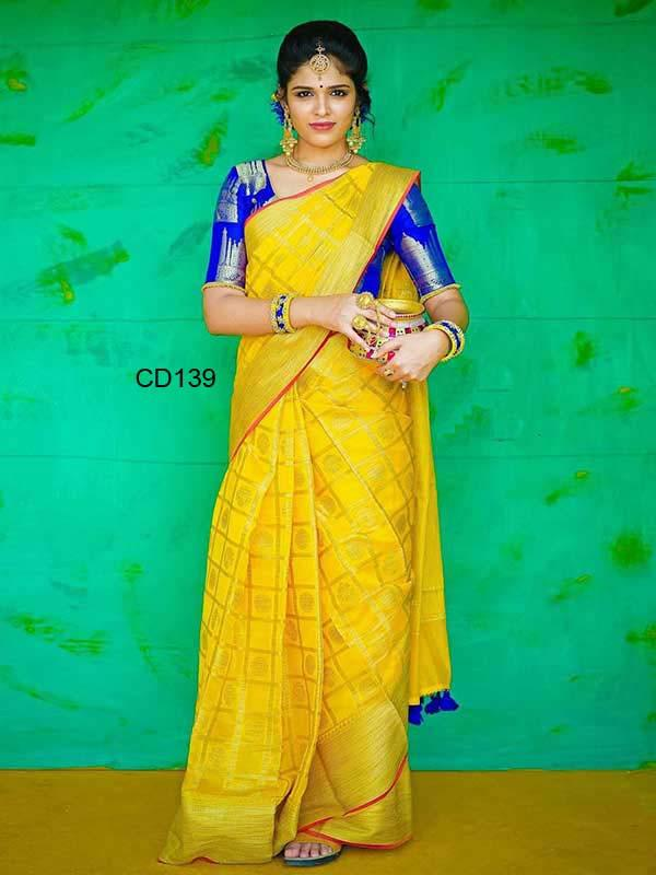 Adorning Yellow Color Designer Silk Saree