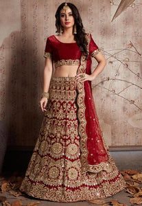 Embroidered Satin Lehenga in Maroon