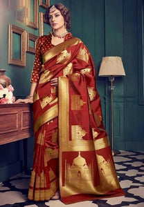 Peculiar Brown Color Designer Silk Saree
