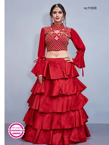 Red Silk Frill Readymade Lehenga Choli
