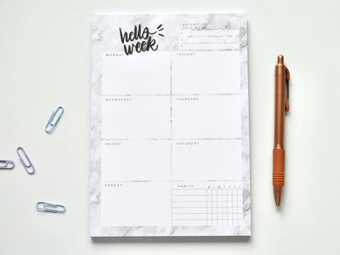 Marble A5 Weekly Planner