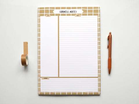 Coffee Grid A4 Cornell Notepad